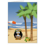 Hula penguin on vacation cartoon illustration greeting card
