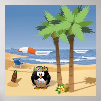 Hula penguin on vacation cartoon illustration poster