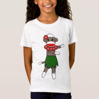 Hula Sock Monkey - Girls Baby Doll (Fitted) T-Shirt