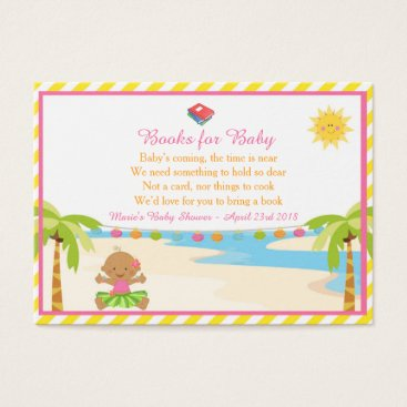 Beach Themed Hula Tropical Girl Book Request for Baby Shower Business Card