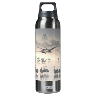 Hula Valley Cranes In Fog Insulated Water Bottle