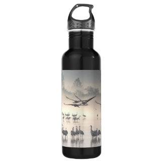 Hula Valley Cranes In Fog Stainless Steel Water Bottle