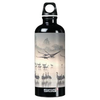Hula Valley Cranes In Fog Water Bottle