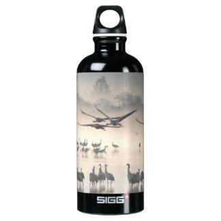 Hula Valley Cranes In Fog Water Bottle