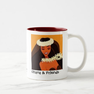 hulagirl-t, hula%20girl, Ohana & Friends, Ua ol... Two-Tone Coffee Mug