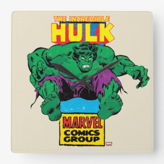 Hulk Retro Comic Character Square Wall Clock