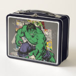 """Hulk Retro Comic Graphic Metal Lunch Box<br><div class=""""desc"""">Check out this retro Hulk posed in front of several of his vintage comic books.</div>"""