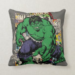 "Hulk Retro Comic Graphic Throw Pillow<br><div class=""desc"">Check out this retro Hulk posed in front of several of his vintage comic books.</div>"