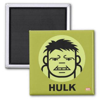 Hulk Stylized Line Art Icon 2 Inch Square Magnet