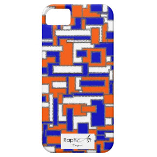 Hull Iphone5 Fabric of Blue & Orange Leather iPhone 5 Cover