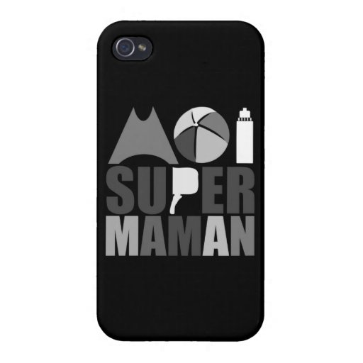 Hull Iphone 4 - Logo Me Super Mom - Black Covers For iPhone 4
