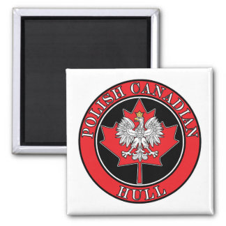 Hull Polish Round Canadian Leaf 2 Inch Square Magnet