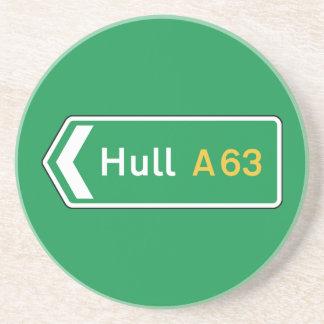 Hull, UK Road Sign Beverage Coaster