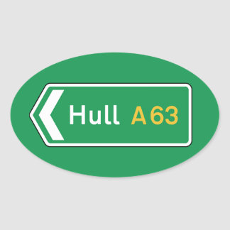 Hull, UK Road Sign Oval Sticker