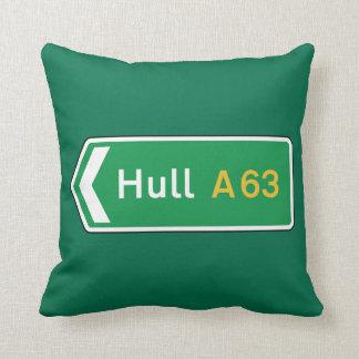 Hull, UK Road Sign Throw Pillow