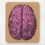 """Human Anatomy Brain Mouse Pad<br><div class=""""desc"""">Human anatomical brain illustration colored pink. Great for medical students,  doctors or zombies!</div>"""