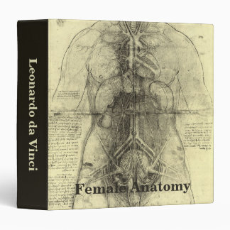 Human Anatomy, Female Torso by Leonardo da Vinci 3 Ring Binder