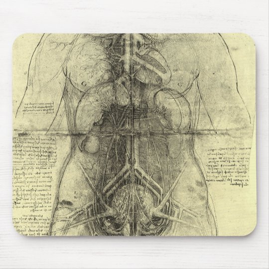 Human Anatomy, Female Torso by Leonardo da Vinci Mouse Pad