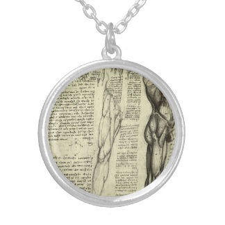 Human Anatomy Male Muscles by Leonardo da Vinci Silver Plated Necklace