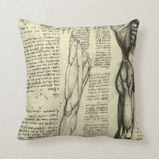 Human Anatomy Male Muscles by Leonardo da Vinci Throw Pillow