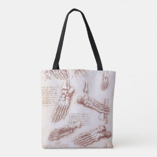Human Anatomy Skeleton Foot Bones by da Vinci Tote Bag