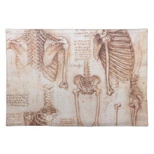 Human Anatomy Skeletons by Leonardo da Vinci Placemat