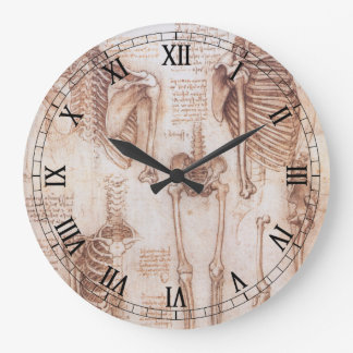 Human Anatomy Skeletons by Leondardo da Vinci Large Clock