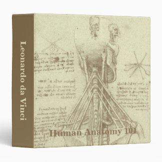 Human Anatomy Spinal Column by Leonardo da Vinci 3 Ring Binder