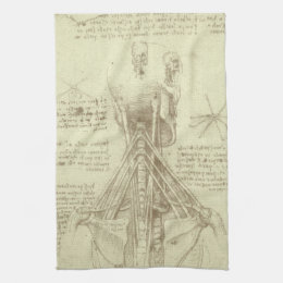 Human Anatomy Spinal Column by Leonardo da Vinci Kitchen Towel