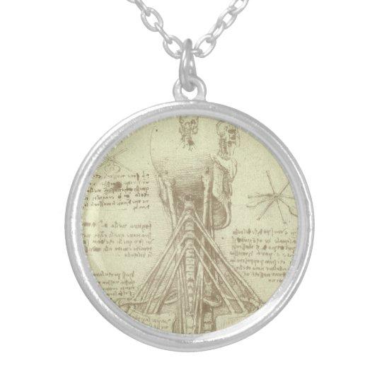 Human Anatomy Spinal Column by Leonardo da Vinci Silver Plated Necklace