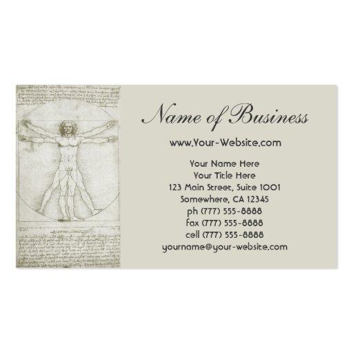 Human Anatomy, Vitruvian Man by Leonardo da Vinci Business Card
