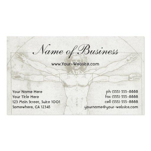 Human Anatomy, Vitruvian Man by Leonardo da Vinci Business Card Templates