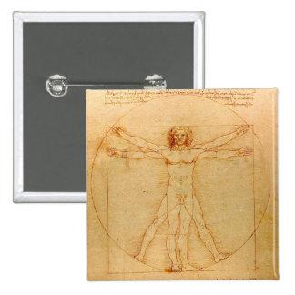 Human Anatomy, Vitruvian Man by Leonardo da Vinci Pinback Button