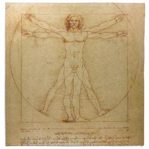 Human Anatomy, Vitruvian Man by Leonardo da Vinci Cloth Napkin