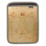Human Anatomy, Vitruvian Man by Leonardo da Vinci Sleeve For iPads