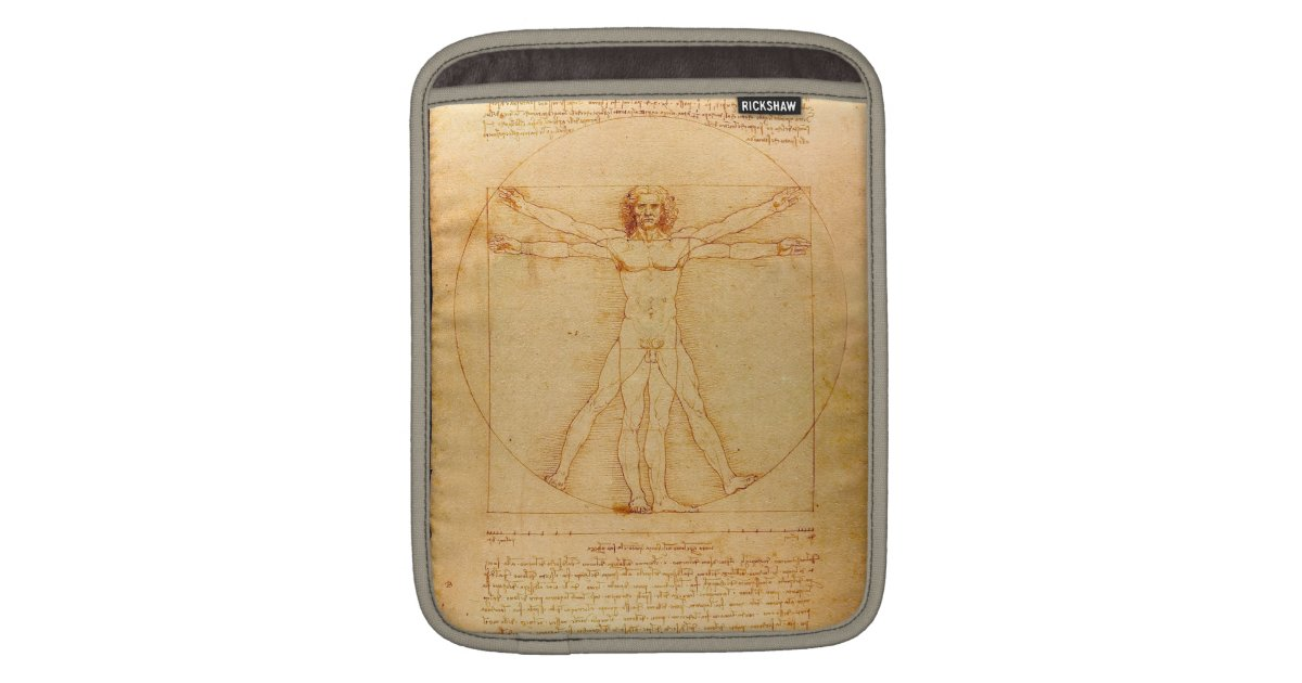 Human Anatomy Vitruvian Man By Leonardo Da Vinci Sleeve For Ipads
