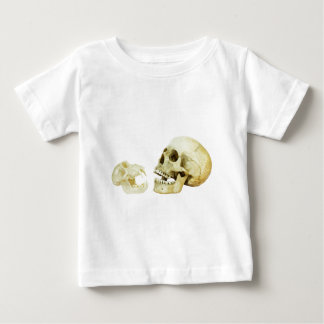 Human and monkey skull opposite of each other baby T-Shirt