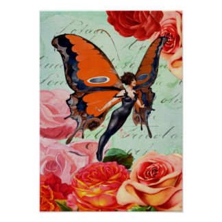 Human-Animal Hybrid Butterfly Woman with Roses Poster