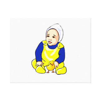 human baby chick blue sleeves.png canvas print