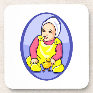 human baby with chick blue oval yellow.png coaster