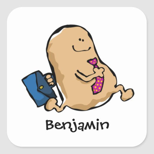 Human Bean Off To Work Square Sticker
