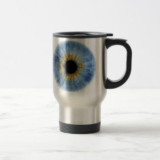 Human blue eyeball travel mug