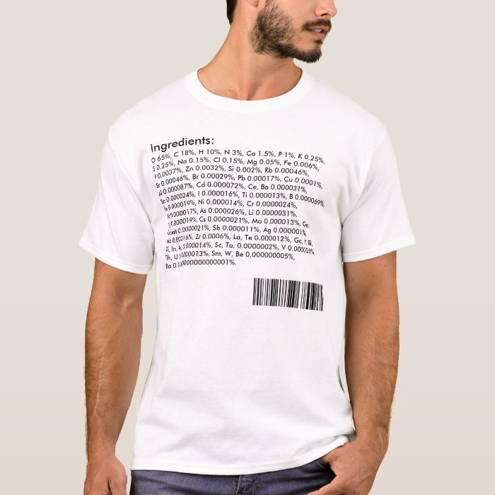 Human body ingredients periodic table t shirt zazzle for Custom periodic table t shirts