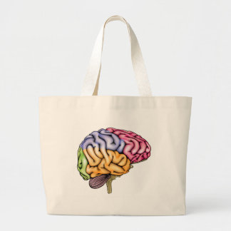 Human brain anatomy sectioned canvas bag