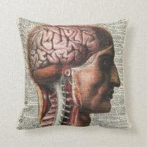 Human Brain Anatomy Throw Pillow