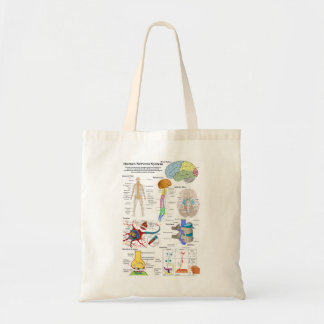 Human Brain and Central Nervous System Diagram Tote Bags