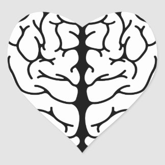 Human brain circle concept heart sticker