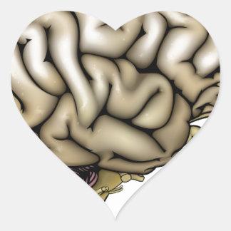 Human brain illustration heart sticker