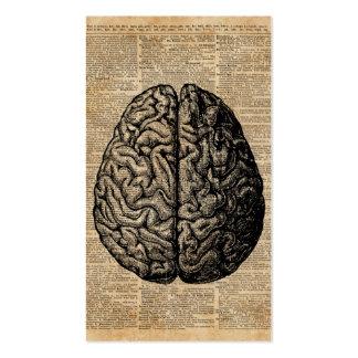 Human Brain Vintage Illustration Dictionary Art Business Card