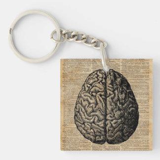 Human Brain Vintage Illustration Dictionary Art Keychain